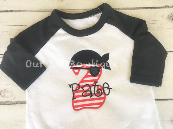 Pirate Birthday Shirt - Personalized Birthday - Personalized Pirate - Pirate Applique - Boy Pirate Shirt - First Birthday Pirates Shirt