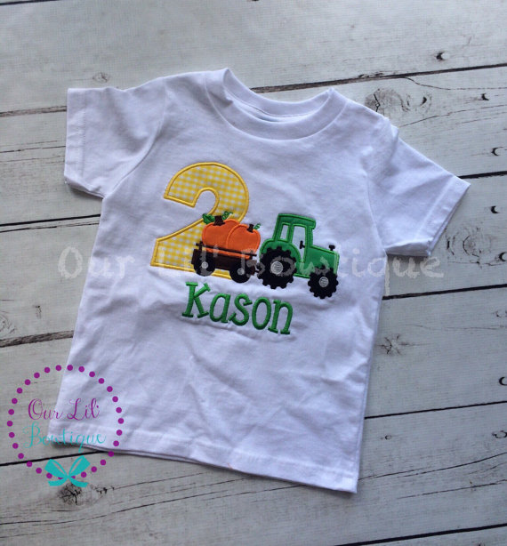 Pumpkin Tractor Birthday Shirt - Boys Shirt - Pumpkin Shirt - Boy Pumpkin - Tractor - Boys Fall Shirt - Fall Birthday - Pumpkin Birthday
