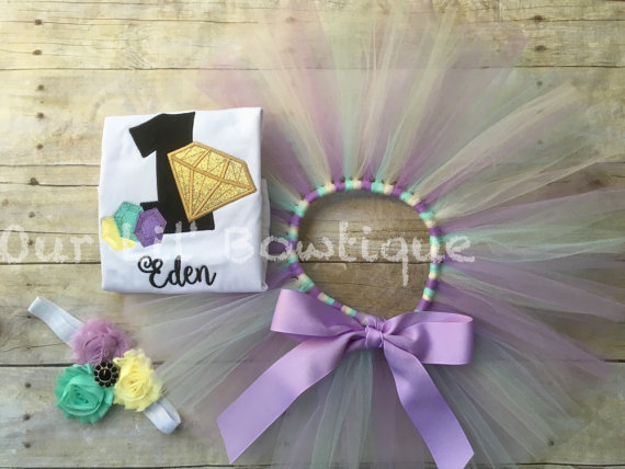 She's A Gem Birthday- Gem Birthday - Birthday Tutu- Personalized Birthday Shirt - Girl - First Birthday Tutu - Diamonds- Gem 1st Birthday