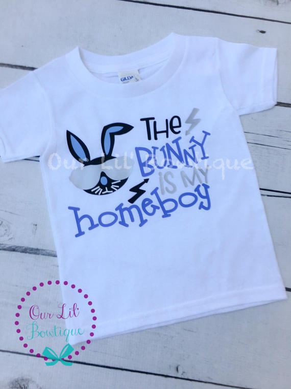 The Bunny Is My Home Boy - Boy Bunny Shirt - Easter Shirt - Personalized Easter Shirt - Boys Easter Shirt -Raglan - Navy - Easter Bunny Shir