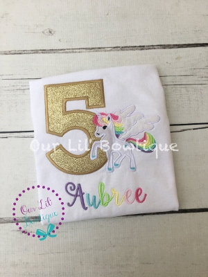 Unicorn Birthday Shirt - Unicorn Birthday - Birthday Shirt- Personalized Birthday - Personalized - Birthday - Gold - Girls Birthday Shirt