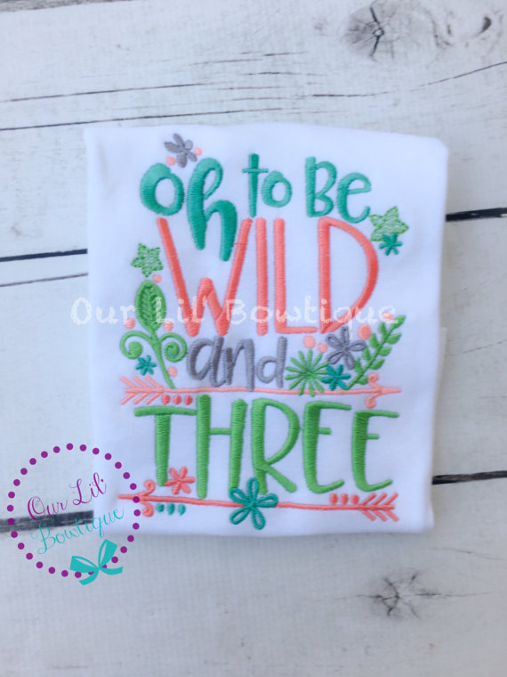 Oh To Be Wild and Three - Wild and Three Birthday Shirt- Personalized Birthday - Personalized - Birthday Shirt - 3rd Birthday Shirt - Dress