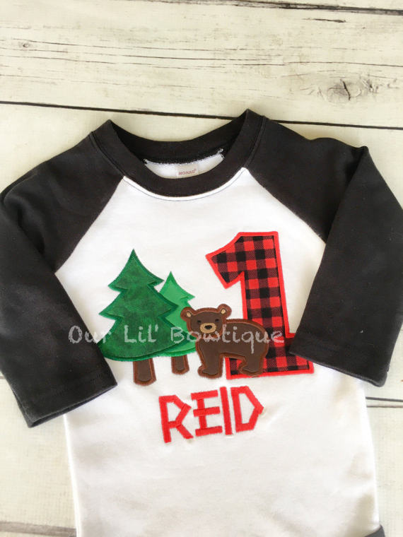 Woodland Birthday Shirt - Boy Birthday Lumberjack Shirt Trees - First Birthday Shirt - Boy Birthday Shirt - Woodland Birthday Shirt - Red Plaid First Birthday Shirt