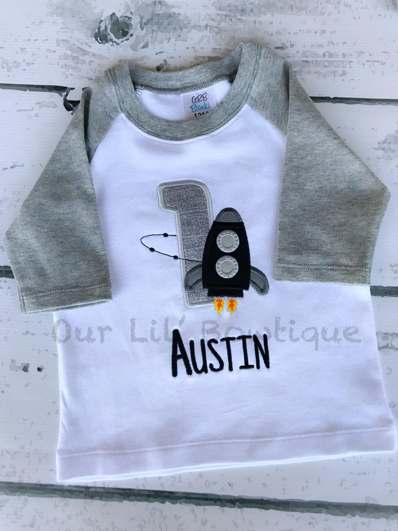 Rocket Ship Shirt - Boys Personalized Birthday Shirt - Black/Grey