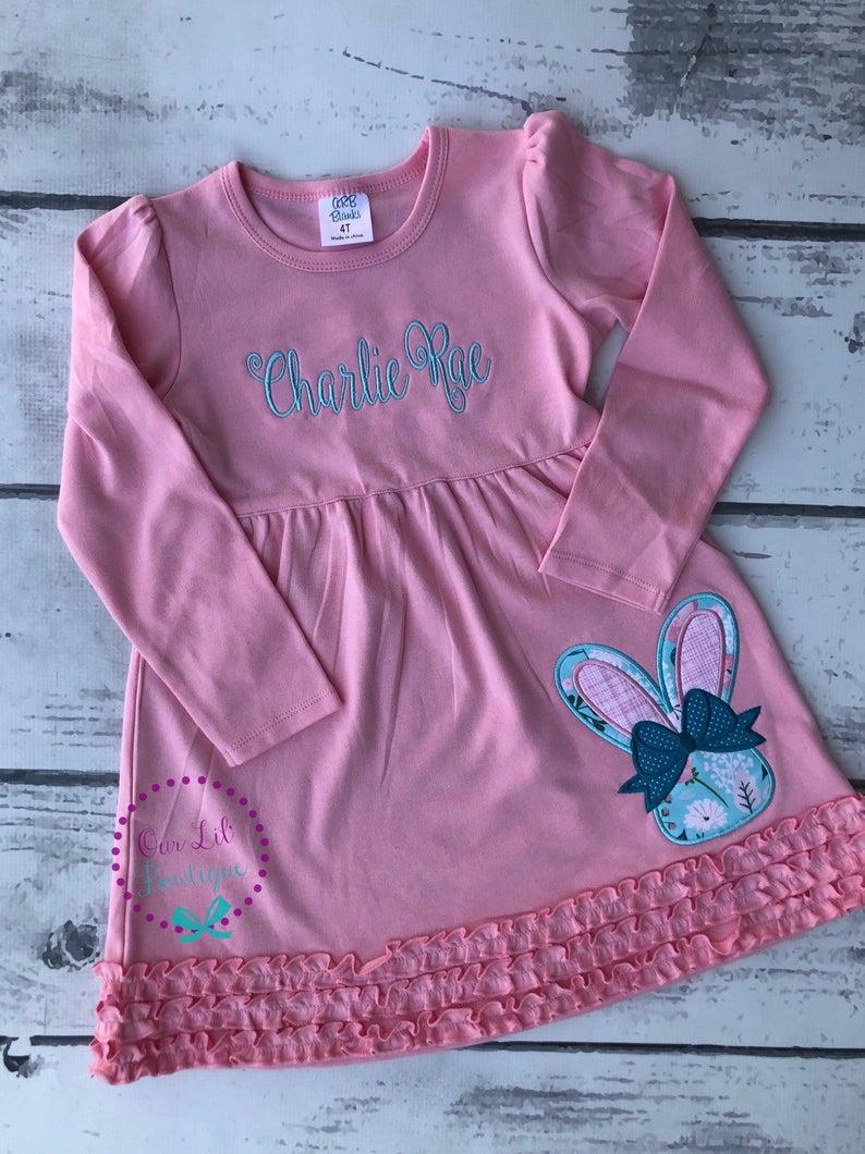 Floral Easter Bunny Shirt - Girls Easter Shirt