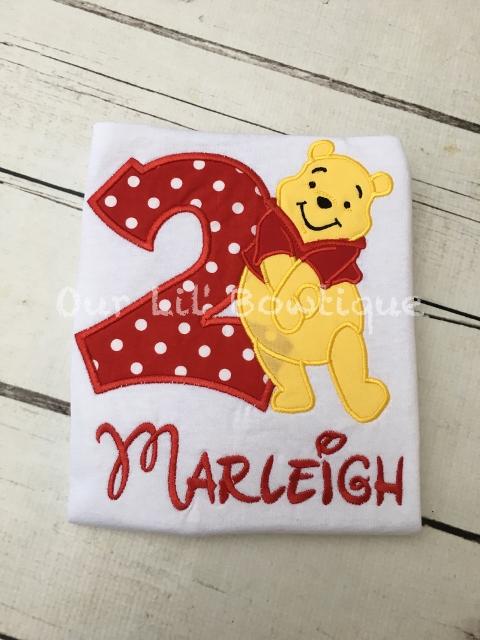 Pooh Birthday Shirt - Pooh Birthday - Raglan - Personalized Birthday Shirt - Yellow Bear