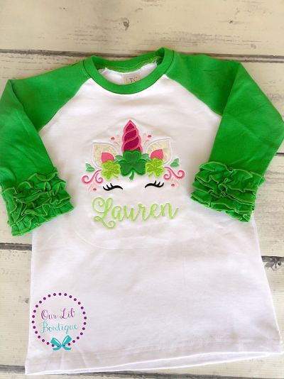 Personalized Shamrock Unicorn Shirt