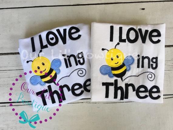 I Love Beeing 3 Shirt - Birthday Shirt- Personalized Birthday Shirt - Personalized Star Girl - 3rd Birthday - Bee Birthday - Twins