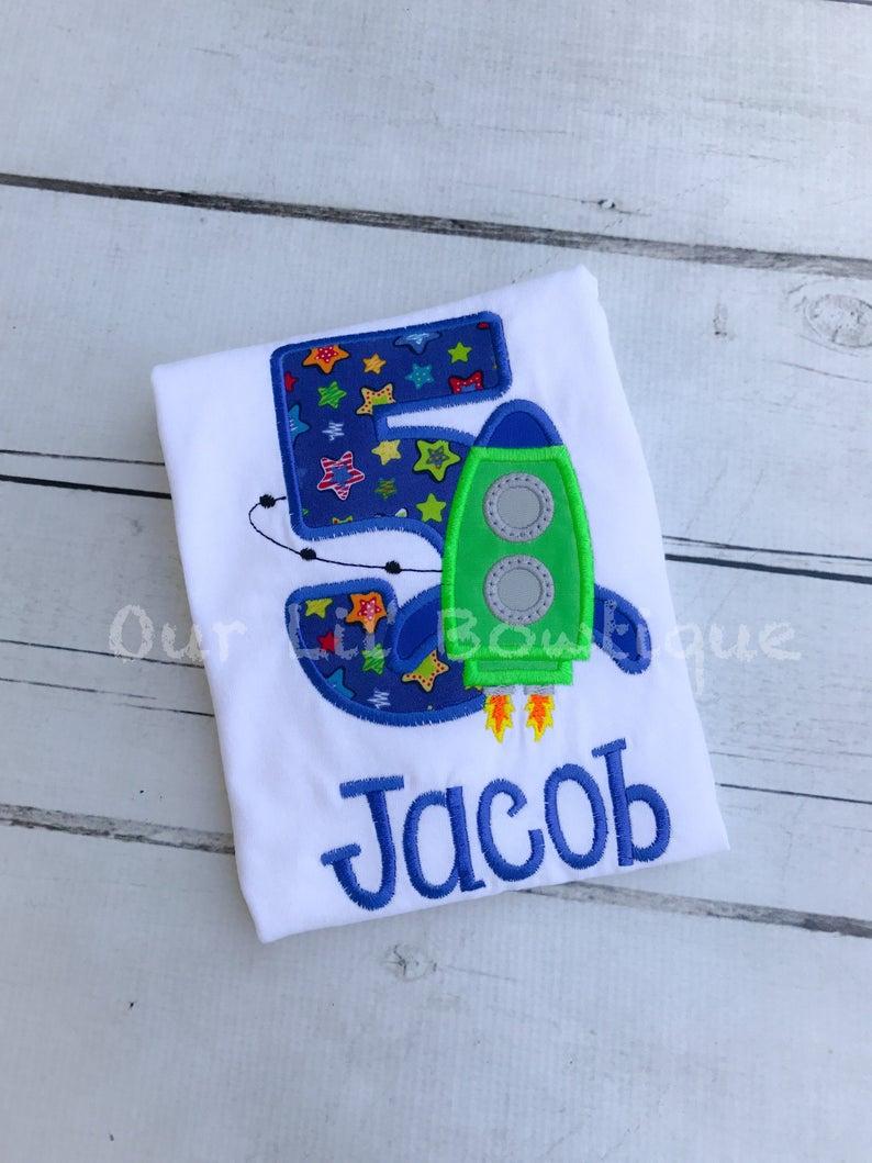 Rocket Ship Shirt - Boys Space Birthday Shirt