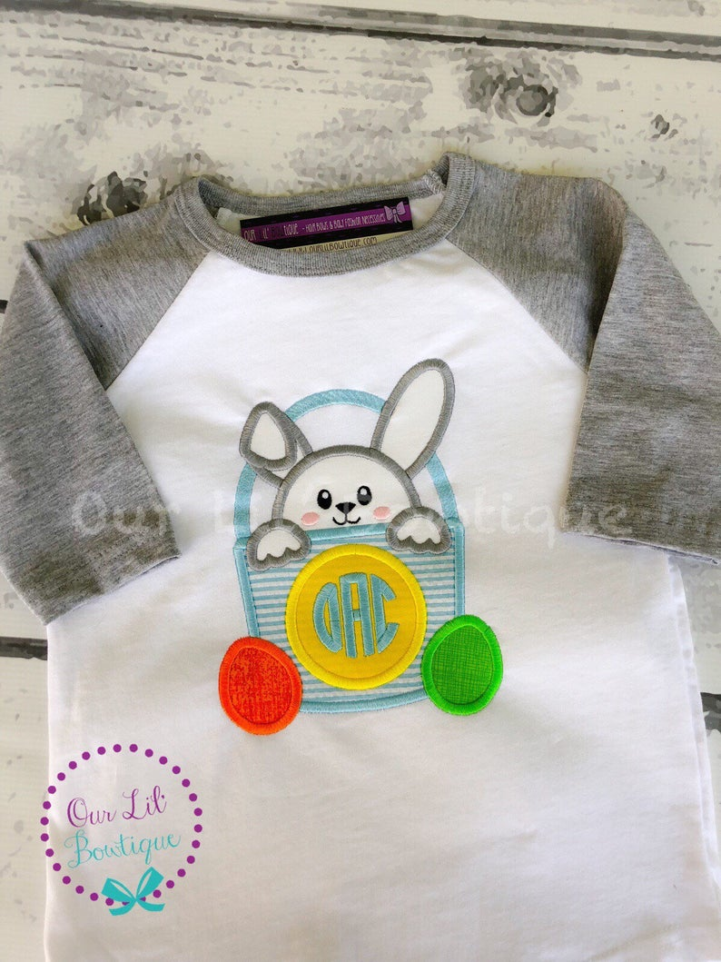 Easter Bunny Basket Shirt - Boys Personalized Easter Shirt