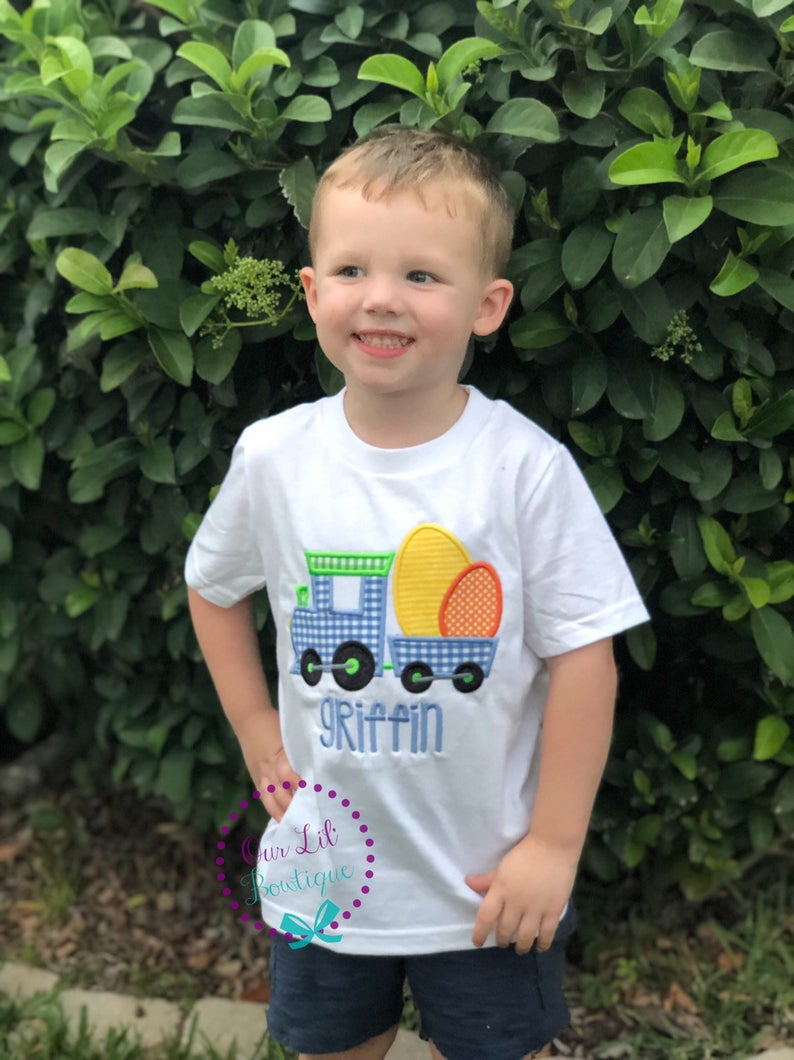 Easter Train Shirt - Boys Personalized Easter Shirt