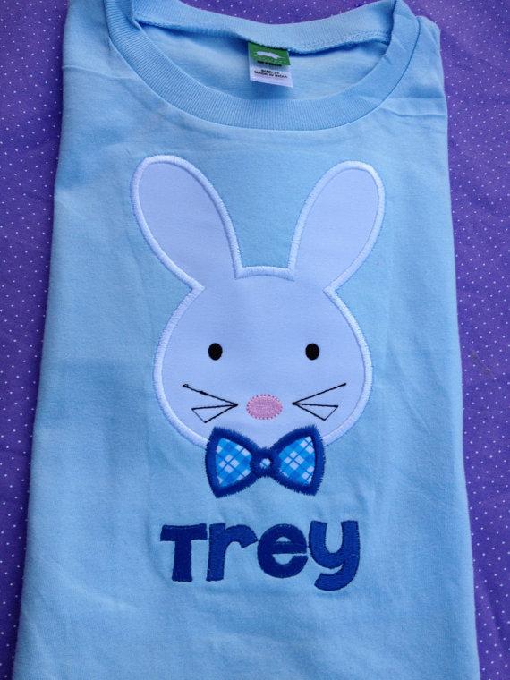 Easter Bunny Applique Shirt - Boy's Easter Shirt