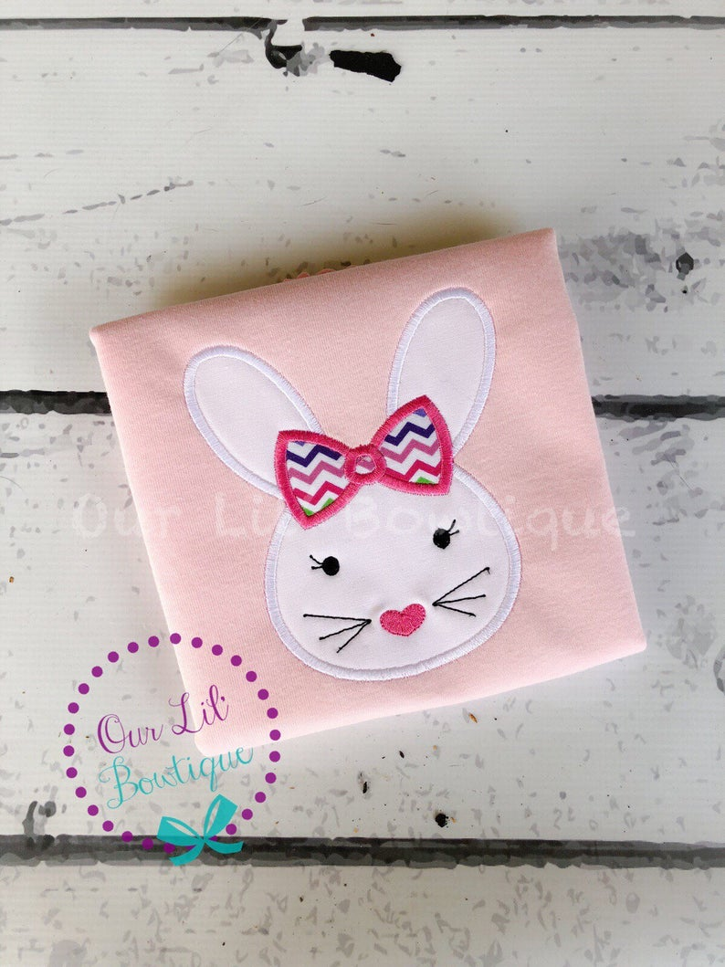 Girls Easter Bunny Applique Shirt - Personalized Easter Shirt