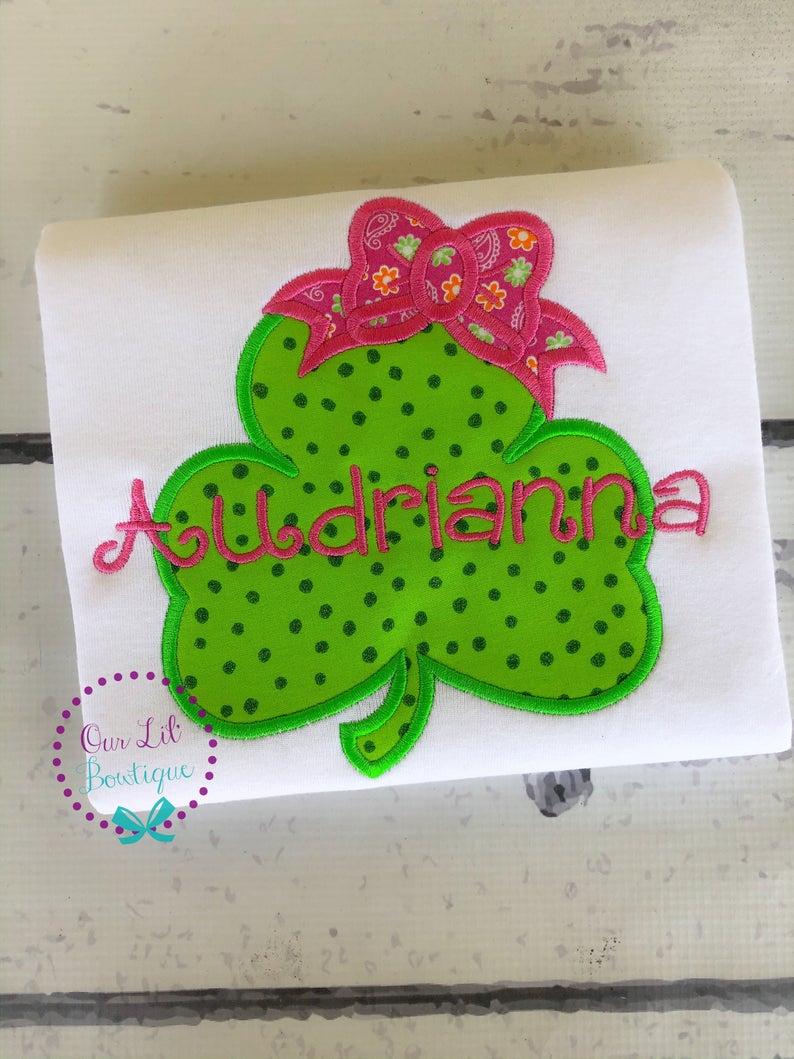 Girls Monogram Shamrock Shirt - St Patricks Day  Shirt