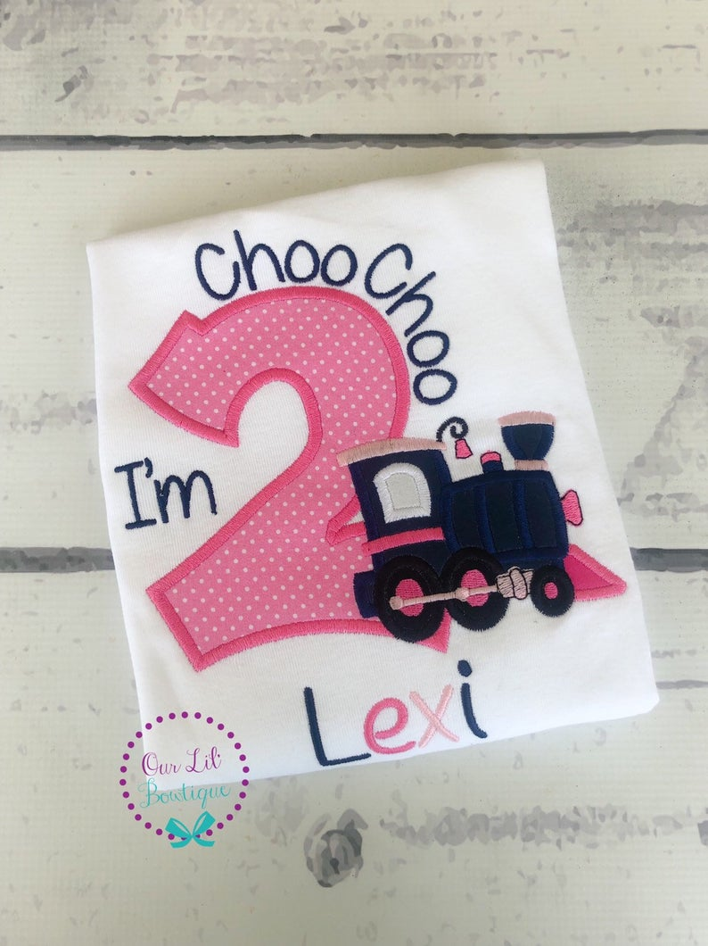 Choo Choo I'm 2 - Girl Train Birthday Shirt