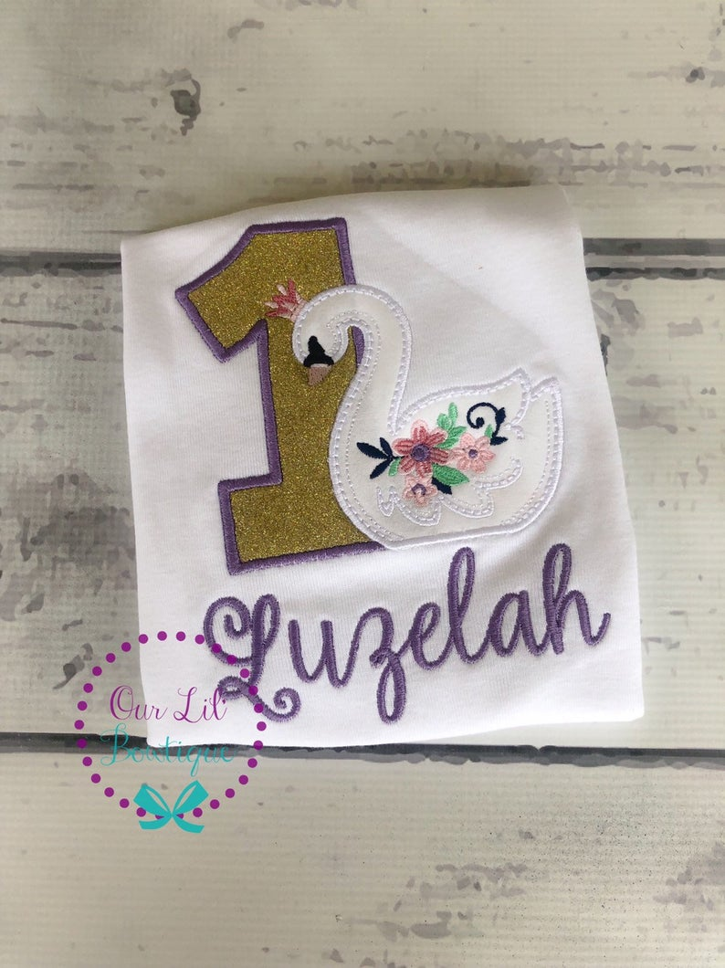 Swan Birthday Shirt - Girls Personalized Birthday Shirt