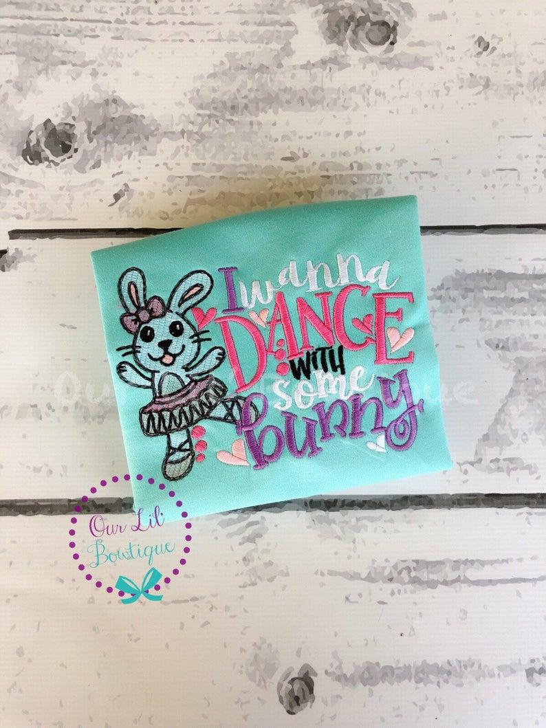 Easter Bunny Ballerina Shirt - Girls Personalized Easter Shirt