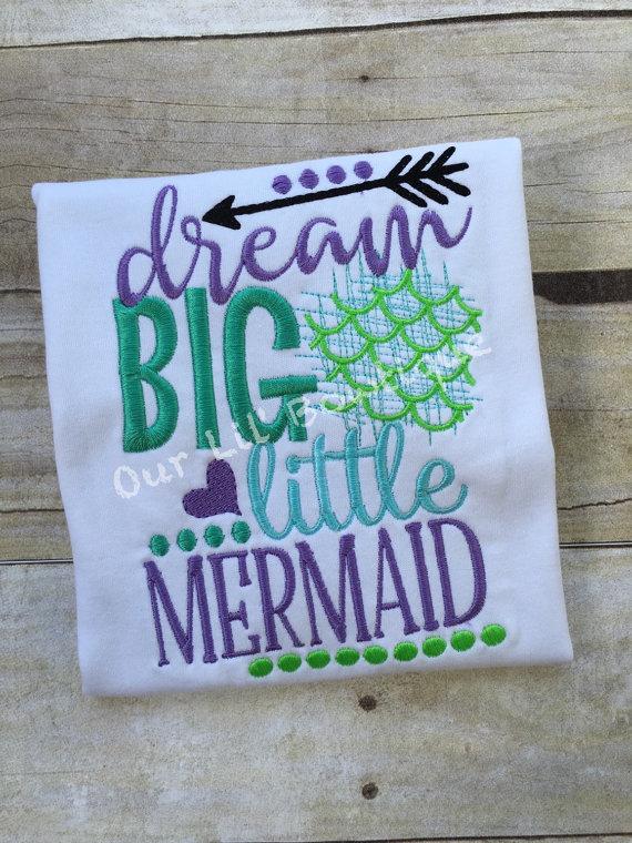 Mermaid Outfit - Mermaid Birthday - Dream Big Little Mermaid - Ruffle Bloomers - Mermaid - Onesie - Girls - Baby Gift - Mermaid Ruffle Shirt
