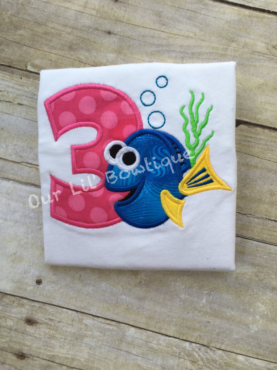 Fish Birthday Shirt- Personalized Birthday Shirt - Personalized Dory - 1st Birthday Outfit - Tutu - Dory Birthday Shirt - Under the Sea