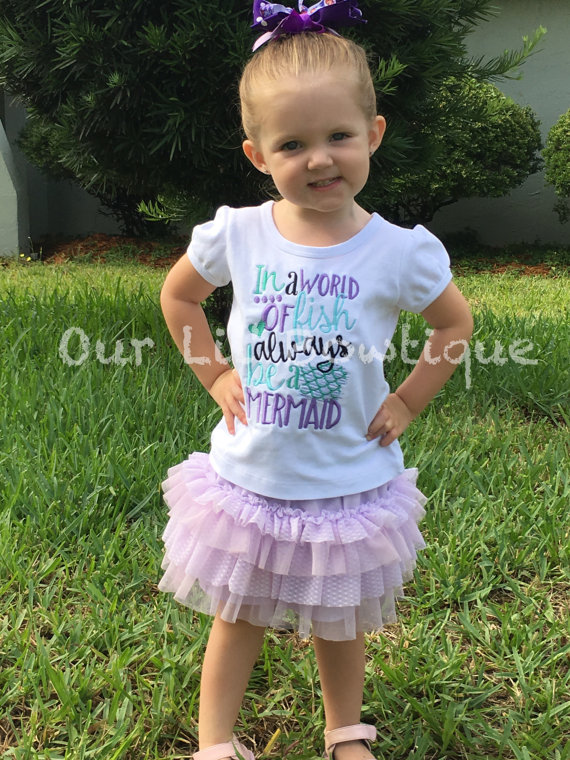 Mermaid Outfit - Mermaid Birthday - In A World Of Fish Always Be A Mermaid - Ruffle Bloomers - Mermaid - Onesie - Girls - Baby Gift -Mermaid