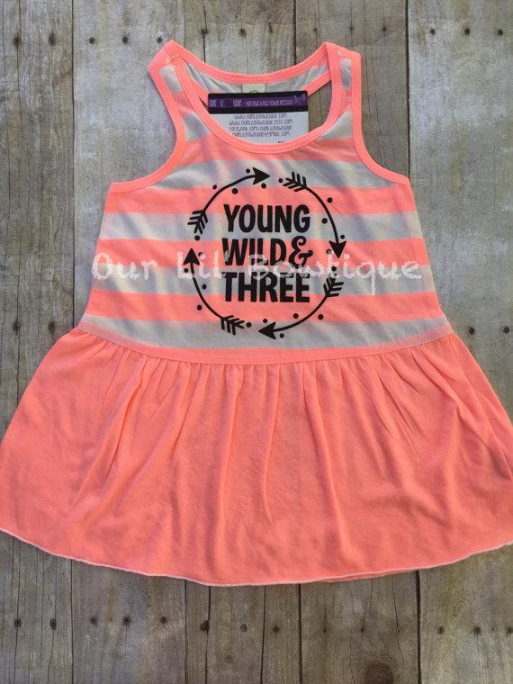 Young Wild and Three - Birthday Shirt- Personalized Birthday - Personalized - Birthday Shirt - Birthday - 3rd Birthday