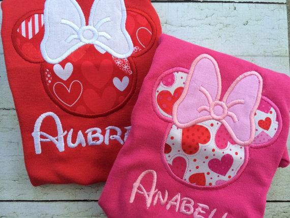 Minnie Inspired Valentine Shirt - Minnie Inspired Hearts - Valentine Personalized Shirt