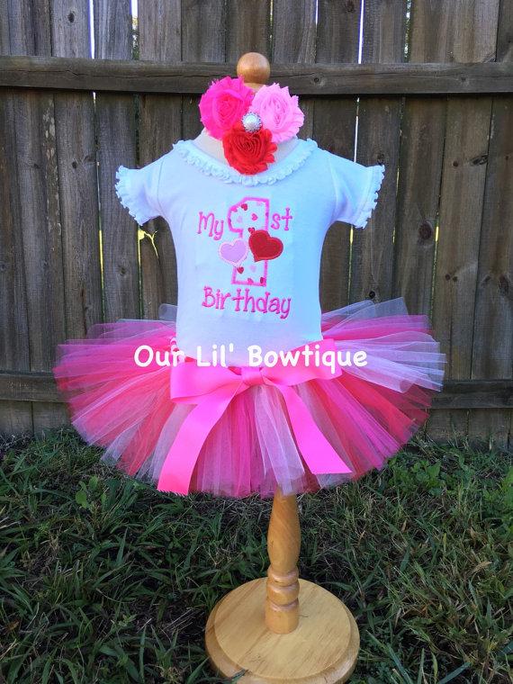 Valentine Birthday - My 1st Birthday Day Shirt - Valentine Shirt - Personalized Valentine Shirt - Girl - Babies 1st Valentines - Applique