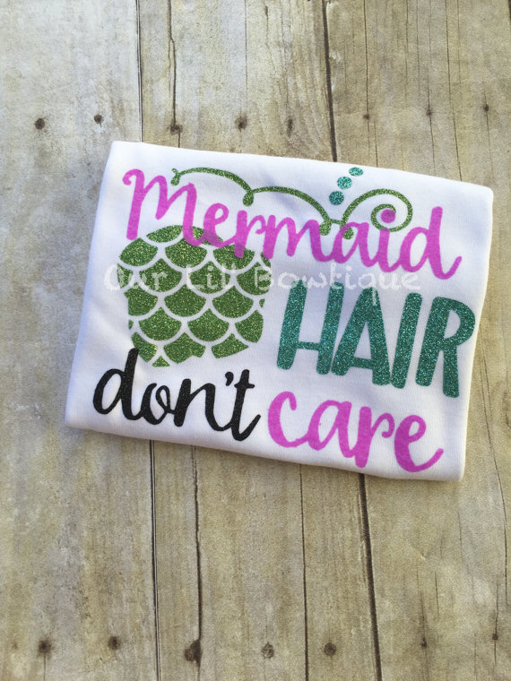 Mermaid Outfit - Mermaid Birthday - Mermaid Hair Don't Care - Ruffle Bloomers - Mermaid - Onesie - Girls - Baby Gift -Mermaid