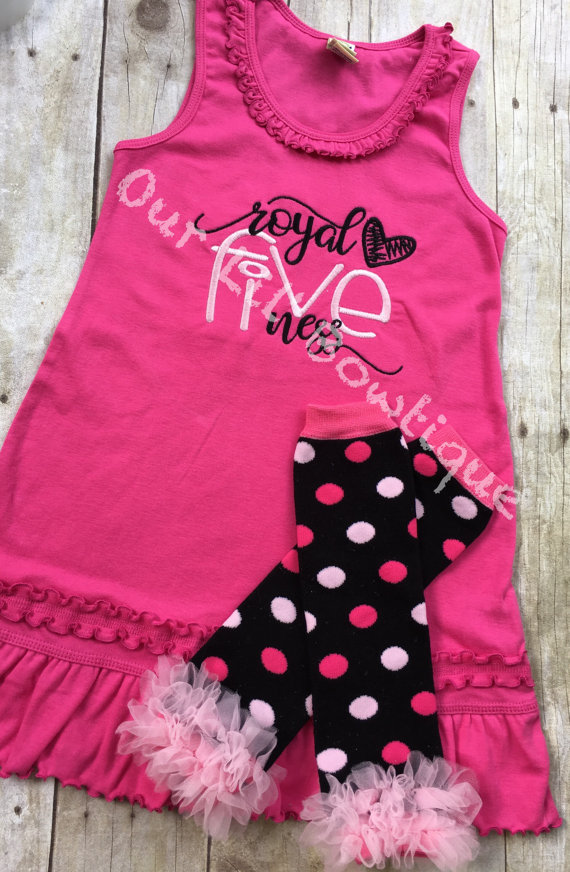Royal Fiveness Birthday Outfit - FIVE- Pink and Black - Fifth Birthday Outfit - Royal Five Ness Birthday Dress - Royal Birthday -5th Birthda