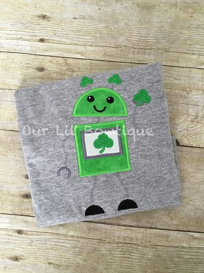 Personalized St. Patricks Day Robot Shirt