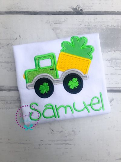 St Patricks Day Dump Truck Shirt - Boys Personalized Shamrock Shirt