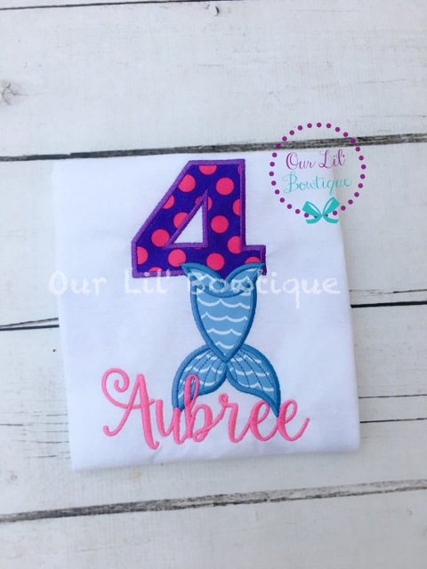 Mermaid Birthday Shirt - Under the Sea Birthday - Mermaid Party - Purple and Aqua - Mermaid Number - Personalized Birthday Shirt - Mermaid - Personalized Mermaid Shirt