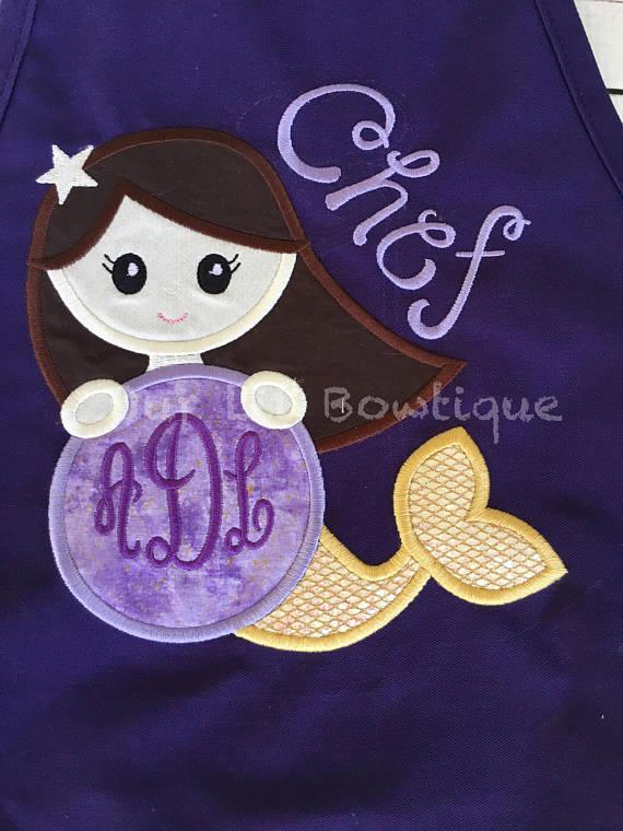 Mermaid Apron - Personalized Mermaid Apron - Kids Personalized Apron