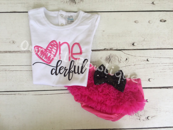 Onederful Birthday Outfit - ONE - Pink and Black Ruffle Bloomers - First Birthday Outfit - One first birthday outfit - Onederful Birthday