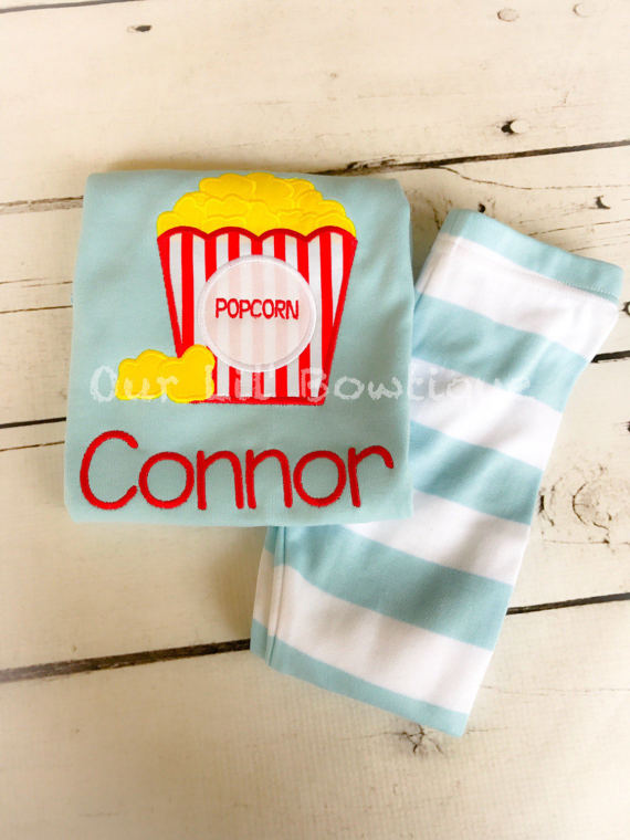 Popcorn and Pajamas - Popcorn Birthday Shirt - Popcorn Personalized PJs - Personalized Popcorn Shirt - Movie Birthday - Movie Birthday Shirt