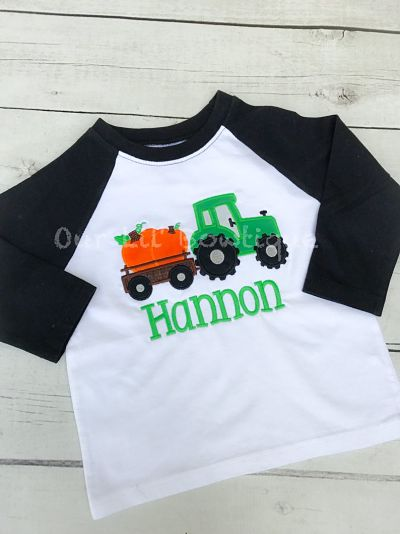 Personalized Pumpkin Tractor Shirt