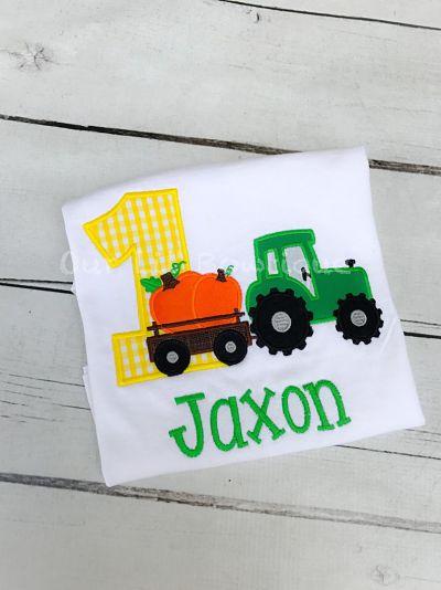 Pumpkin Tractor Birthday Shirt