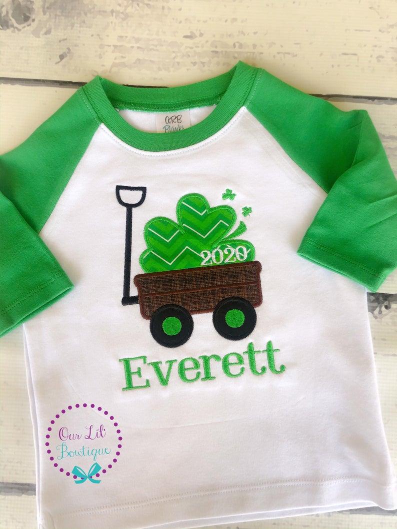 St Patricks Day Wagon Shirt - Boys Personalized St. Patricks Day Shirt