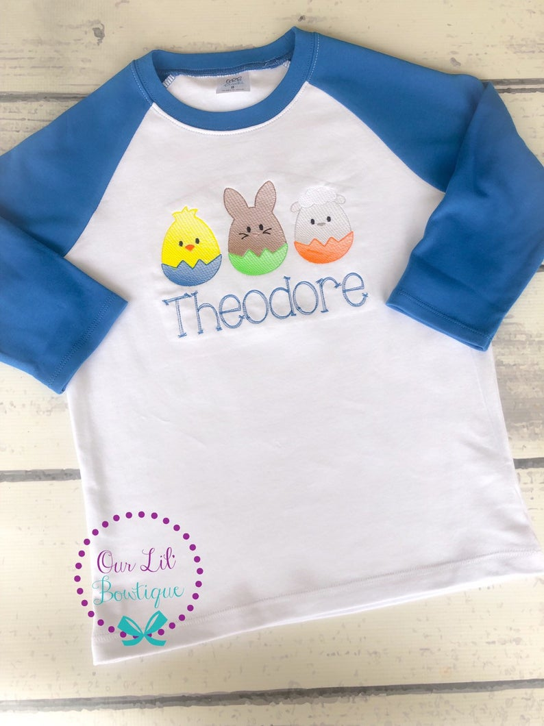 Easter Egg Sketch Trio - Boys Personalized Easter Shirt