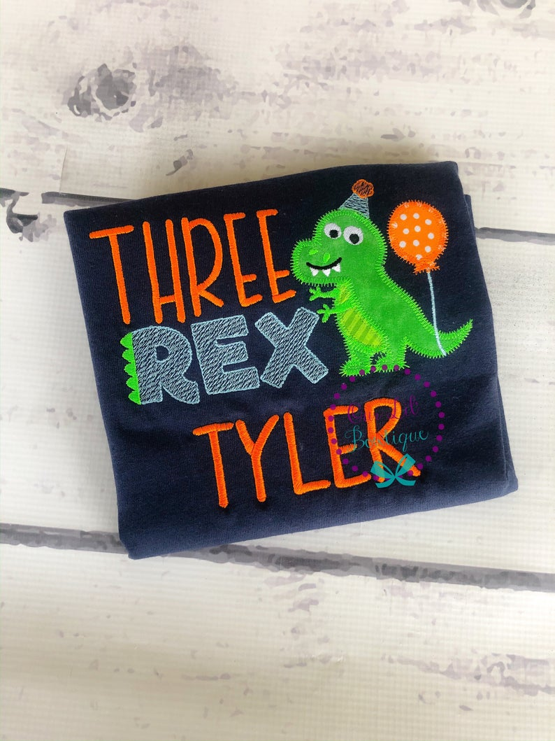 Three Rex Birthday Shirt - Boys Dinosaur Birthday Shirt