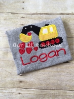 Valentine's Day Digger Shirt - Personalized Valentines Day Shirt - Boy - Valentines Day - Construction Shirt - Valentine Shirt - Boys Valentine Shirt