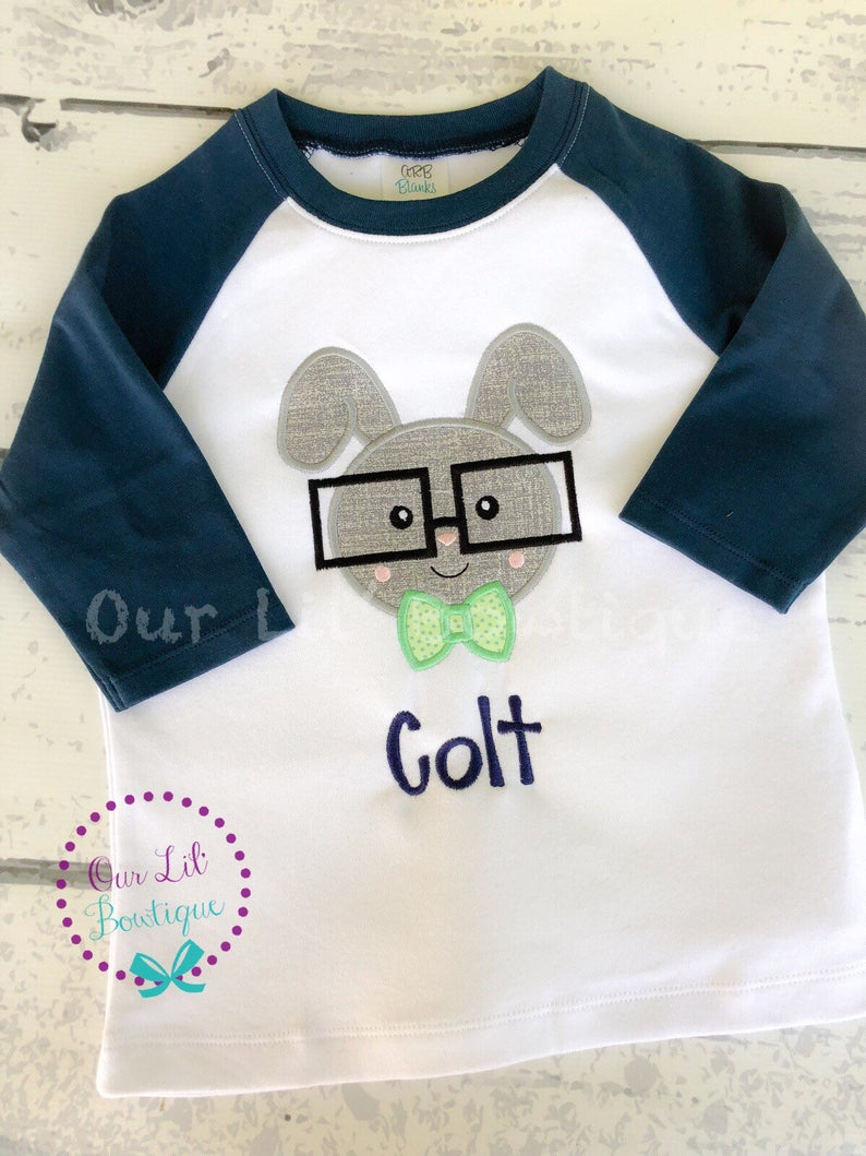 Easter Bunny With Glasses - Personalized Easter Shirt