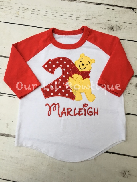 Pooh Birthday Shirt - Pooh Birthday - Raglan - Personalized Birthday Shirt - Yellow Bear
