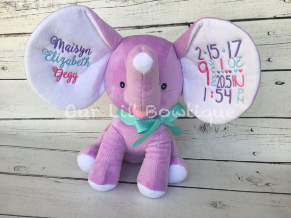 Personalized Stuffed Animal - Personalized Animal - Personalized Elephant - Dumble