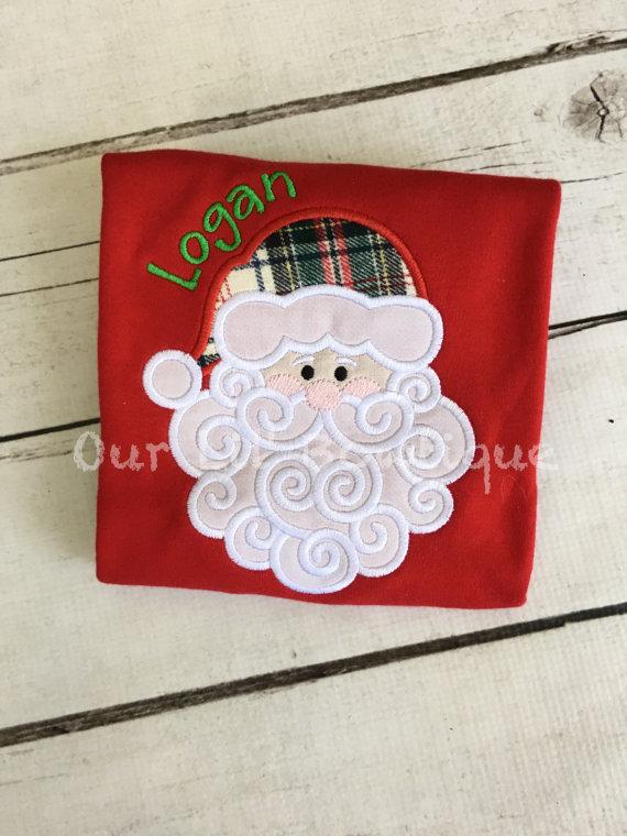 Santa Shirt - Girls Christmas Shirt - Santa - Boys Christmas Shirt - Boy Santa Shirt - Personalized