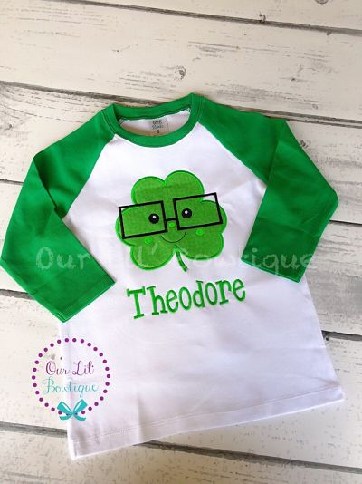 BOYS ST PATRICK'S DAY SHIRT - SHAMROCK WITH GLASSES