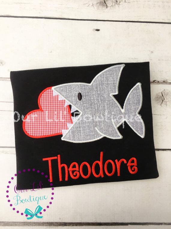 Personalized Valentine Shark Shirt