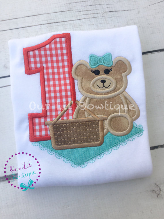 Teddy Bear Picnic Birthday Shirt- Personalized Birthday Shirt - Personalized Girl - 1st Birthday Outfit - Teddy Bear Picnic - Teddy Bearc
