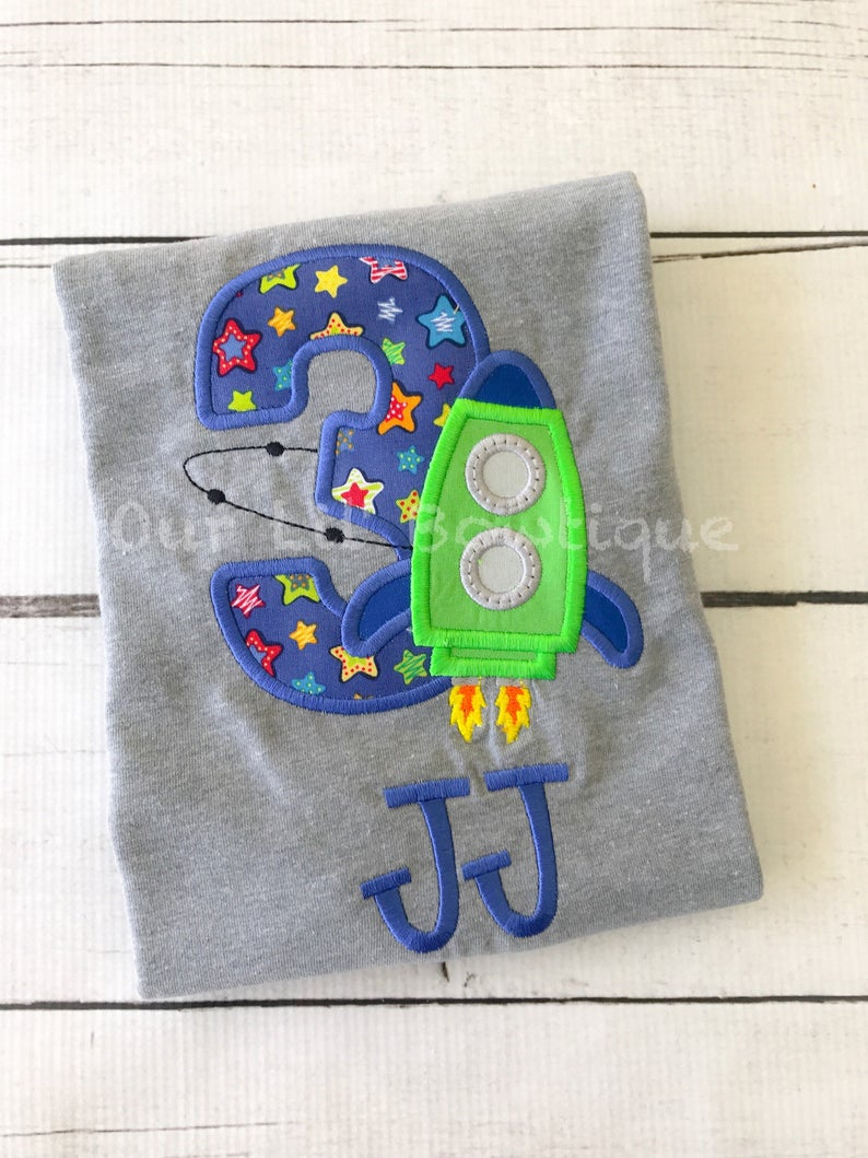 Rocket Ship Shirt - Boys Space Birthday Shirt