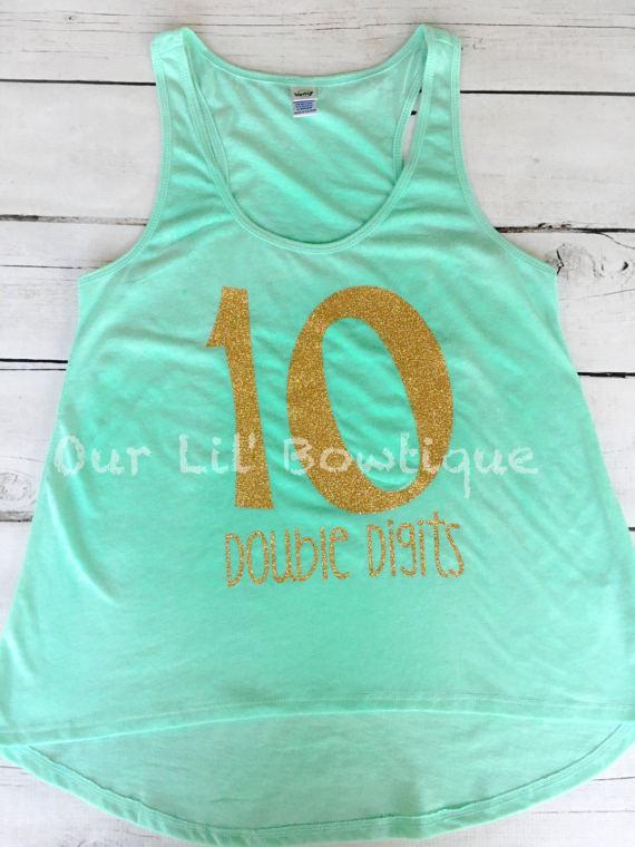 Double Digits - Glitter Tank a Double Digits Birthday Shirt - Personalized Birthday - Personalized - Birthday Shirt - Girls Birthday Shirt